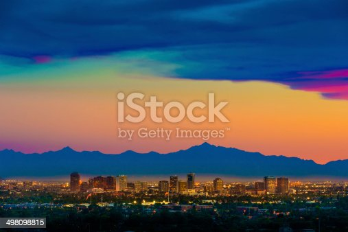 Phoenix Arizona skyline under a dramatic sunset as seen from Scottsdale