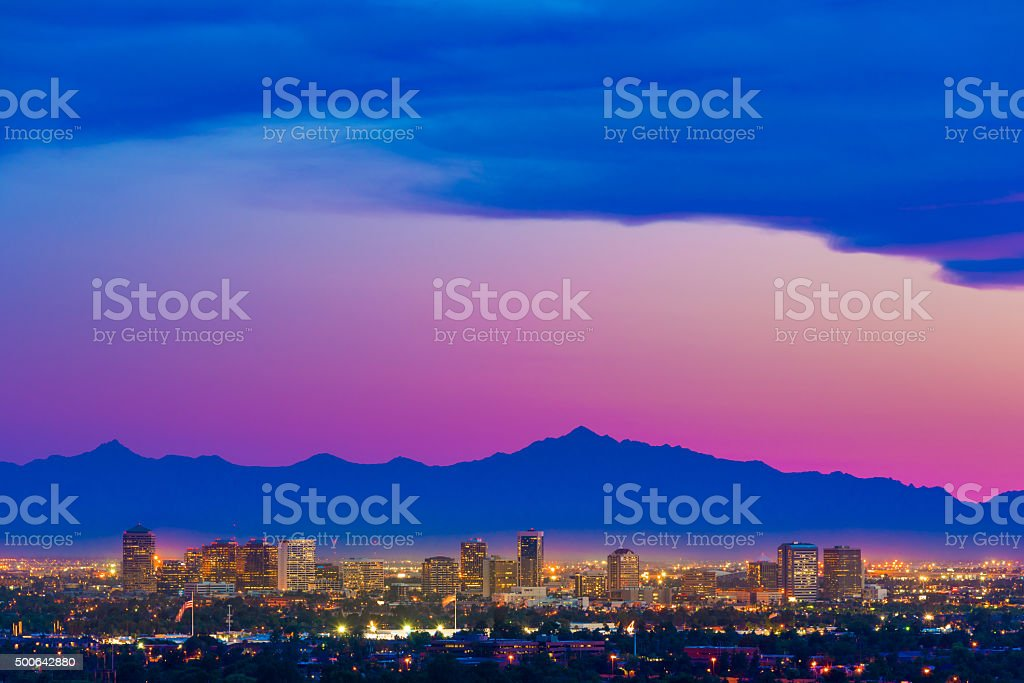 Phoenix Arizona skyline panorama cityscape sunset, aerial, Pantone 2016 stock photo