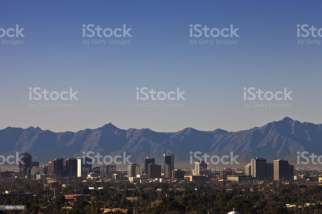 Phoenix Arizona skyline with mountains in the distance stock photo