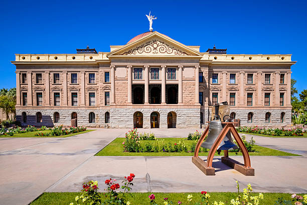 Phoenix Arizona State Capitol Building, Liberty Bell - Front View stock photo