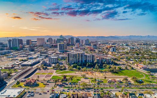 Phoenix, Arizona, USA Downtown Skyline Aerial.