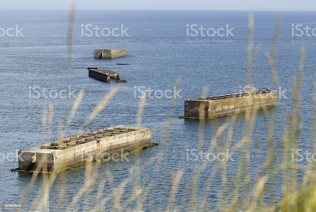 Phoenix caisson at the Mulberry Harbour in Arromanche,  France royalty-free stock photo