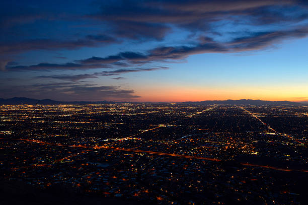 Phoenix city lights at dusk stock photo