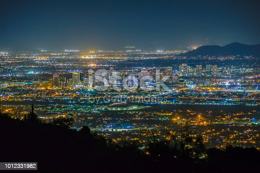 The Phoenix metropolitan area at night viewed from South Mountain.