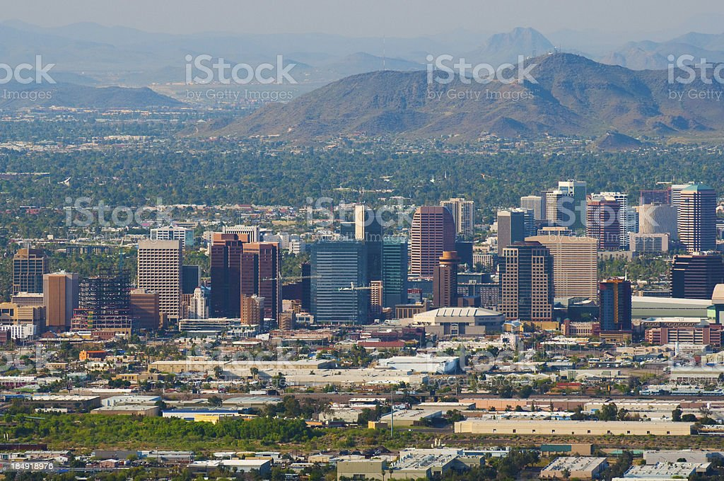 Phoenix downtown and midtown skyline aerial royalty-free stock photo