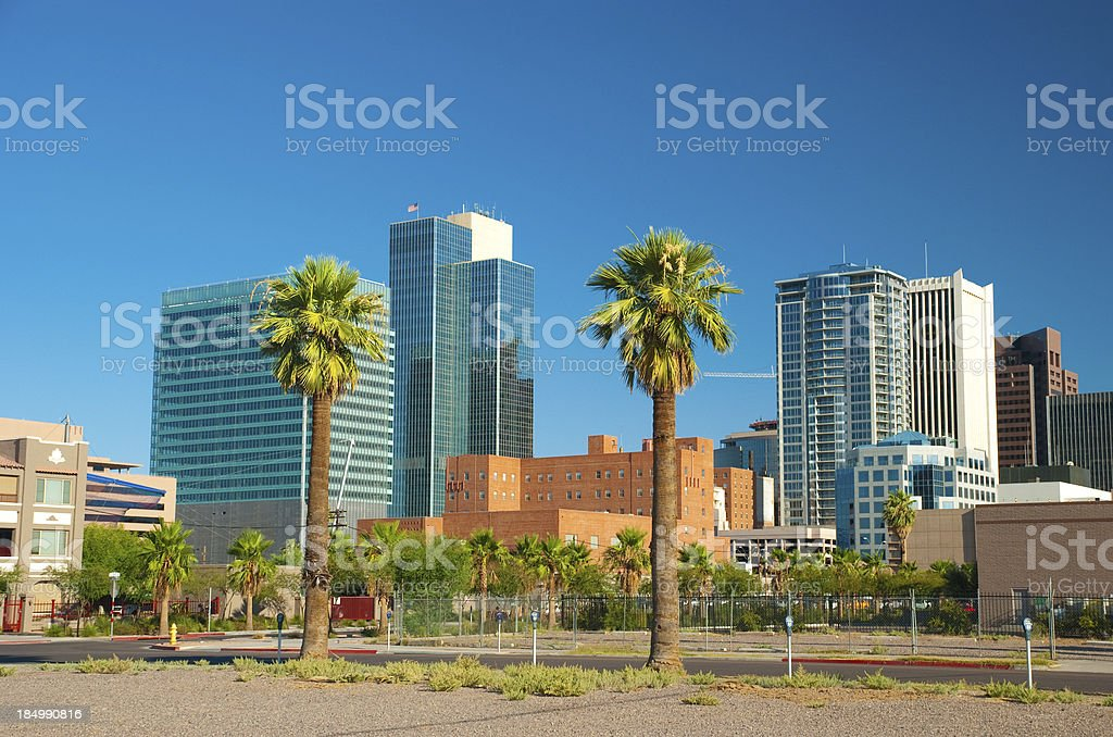 Phoenix Downtown buildings and palm trees royalty-free stock photo
