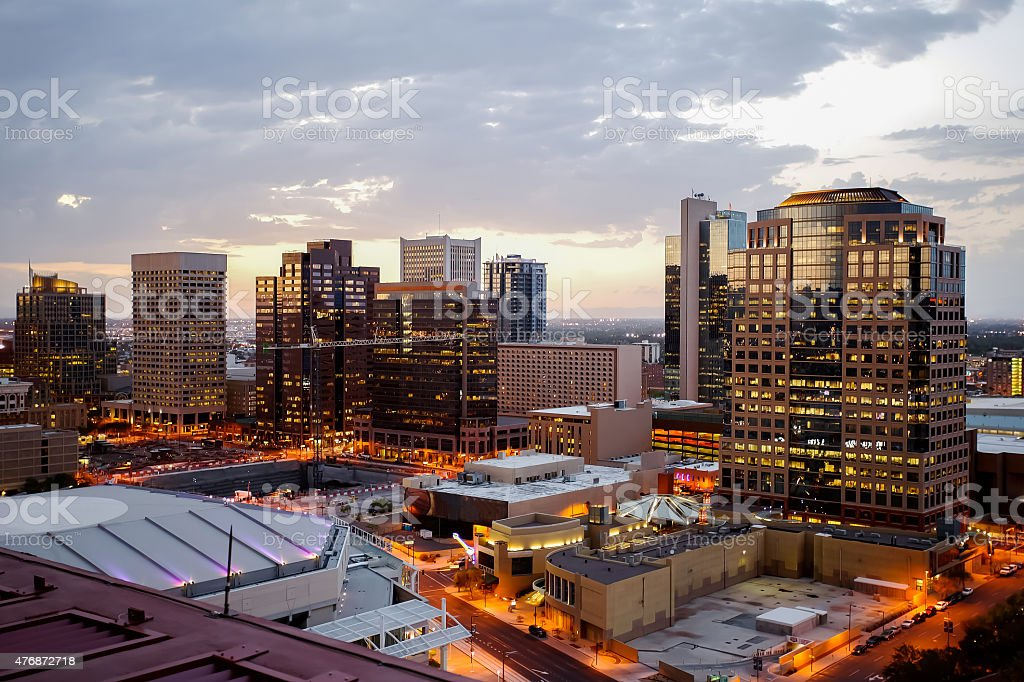 Phoenix Downtown Dusk Lights stock photo