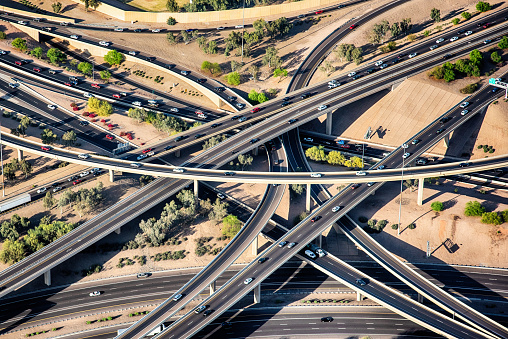 The interchange between two freeways in the Phoenix, Arizona area near downtown shot from an altitude of about 1500 feet during a helicopter photo flight.