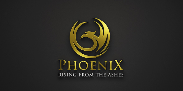Phoenix Golden bird with wings in circle on black background banner