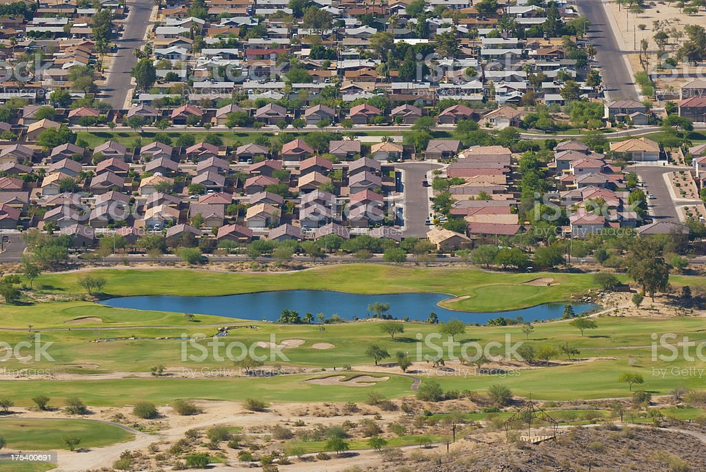 Phoenix Houses and Golf Course stock photo