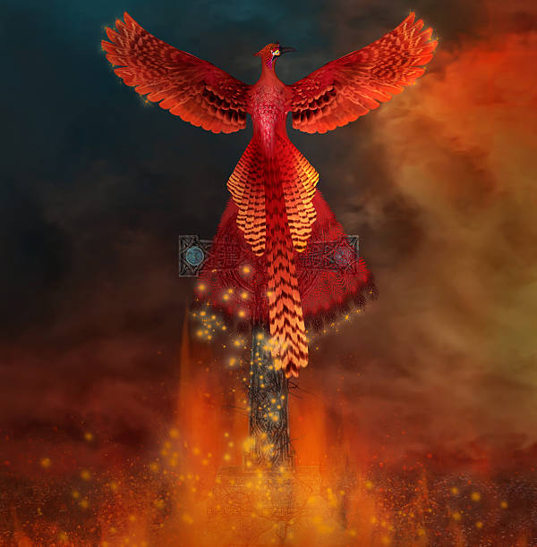 Phoenix on a cross comes back alive from a flame - foto de stock