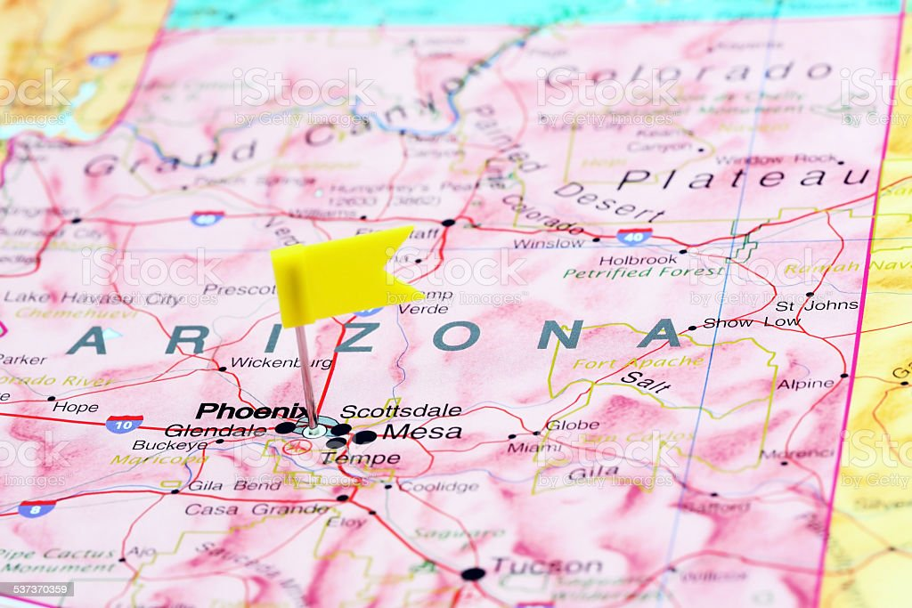 Phoenix pinned on a map of USA stock photo