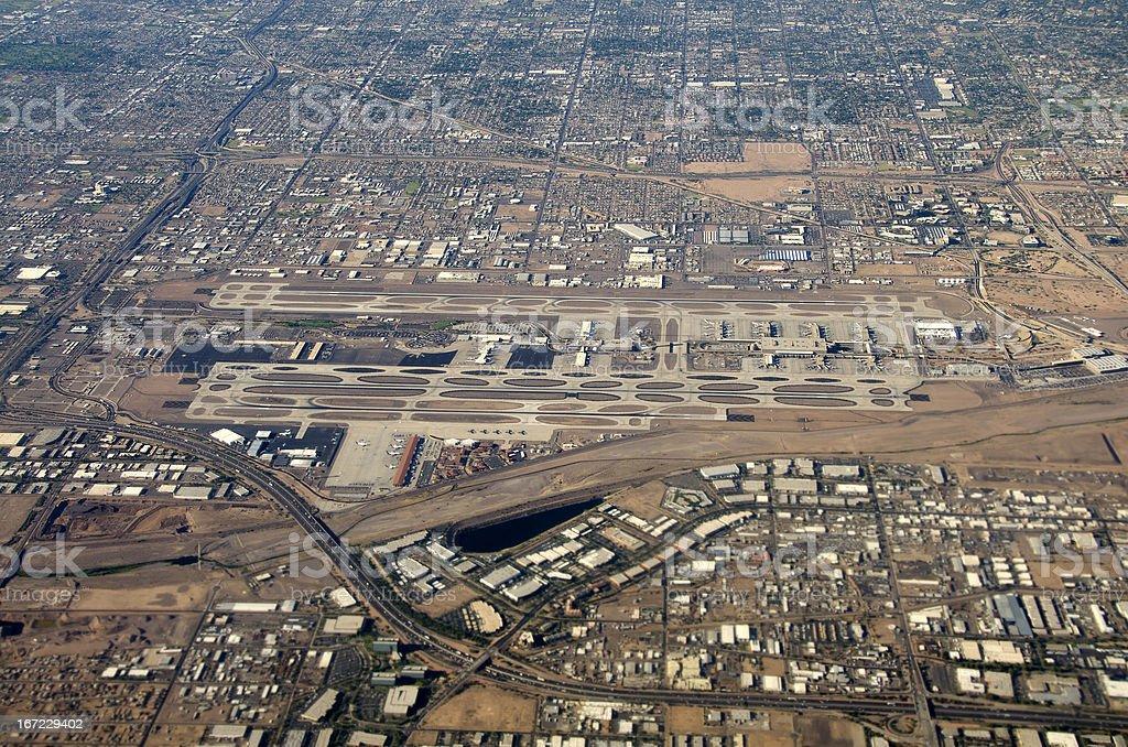 Phoenix Sky Harbor International Airport, Arizona, aerial view stock photo