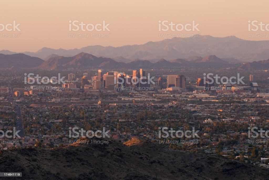 Phoenix Skyline at Sunset royalty-free stock photo