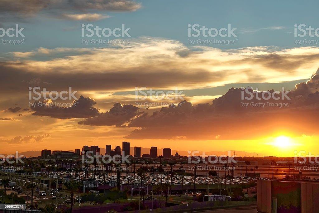 Phoenix Skyline at Sunset. stock photo