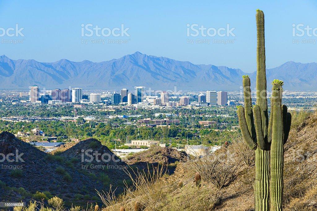 Phoenix skyline framed by saguaro cactus and mountainous desert stock photo