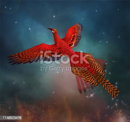istock Phoenix spreading its wings in a magic sky 1146523476