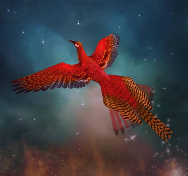 Phoenix spreading its wings in a magic sky Legendary phoenix fliying through the blue sky - 3D illustration reincarnation stock pictures, royalty-free photos & images