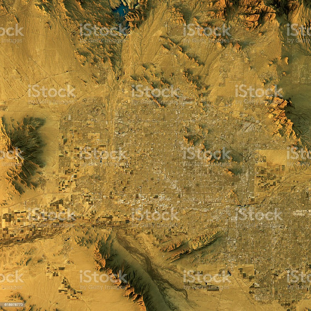 Phoenix Topographic Map Natural Color Top View stock photo