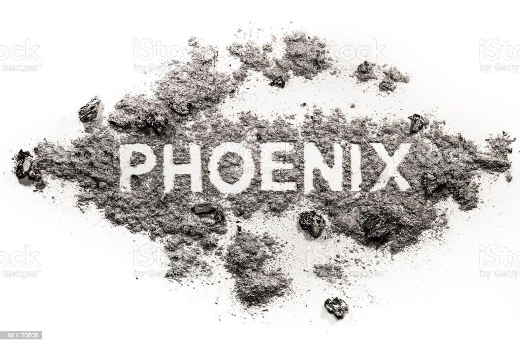 Palabra de Phoenix escrita en ceniza como magia, criatura de mito - foto de stock
