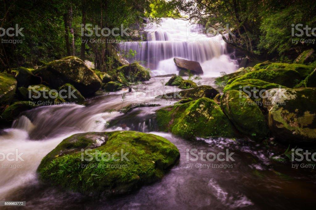 Phon Phop waterfall in rain season at Phu Kradueng National Park, Loei, Thailand stock photo