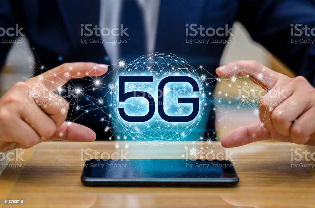 phone 5g Earth businessman connect worldwide waiter hand holding an empty digital tablet with smart and 5G network connection concept stock photo