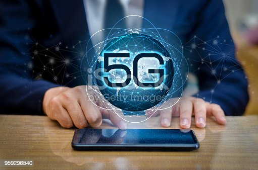 istock phone 5g Earth businessman connect worldwide waiter hand holding an empty digital tablet with smart and 5G network connection concept 959296540