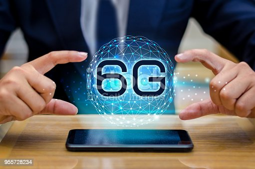 1062274518 istock photo phone 6g Earth businessman connect worldwide waiter hand holding an empty digital tablet with smart and 6G network connection concept 955728234