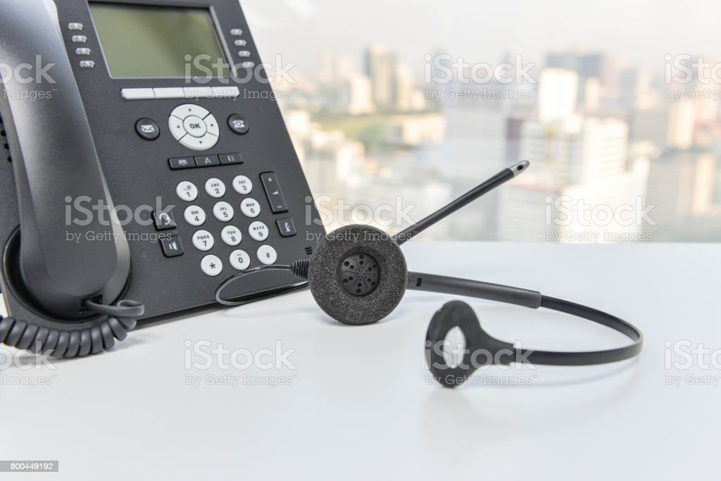 IP Phone and headset device stock photo