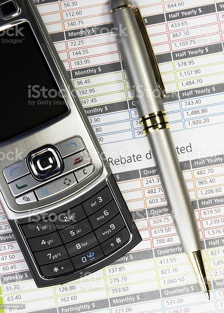 Phone And Pen On Business Background royalty-free stock photo