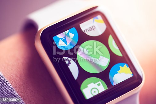 Close up shot of woman wrist wearing smart watch. Phone app icon on touchscreen.