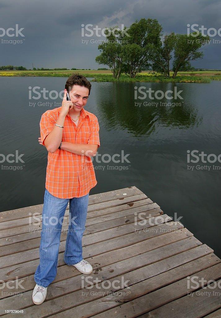 Phone at the lake royalty-free stock photo