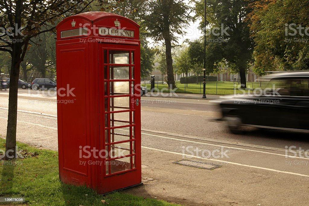 Phone Booth and London Taxi royalty-free stock photo