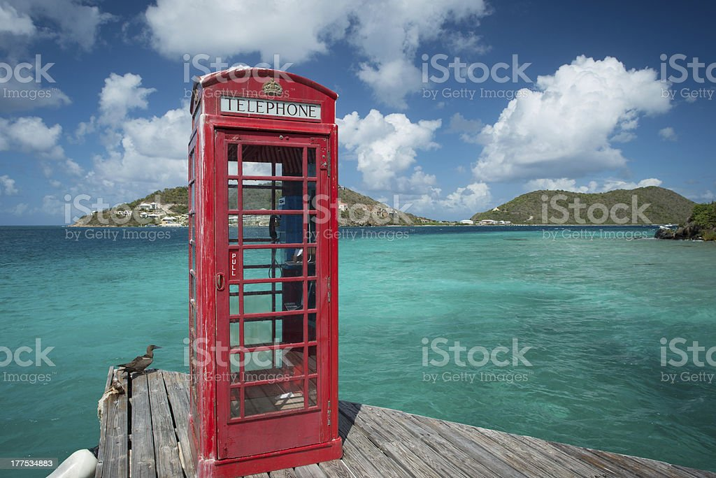 Phone booth in the British Virgin Islands stock photo