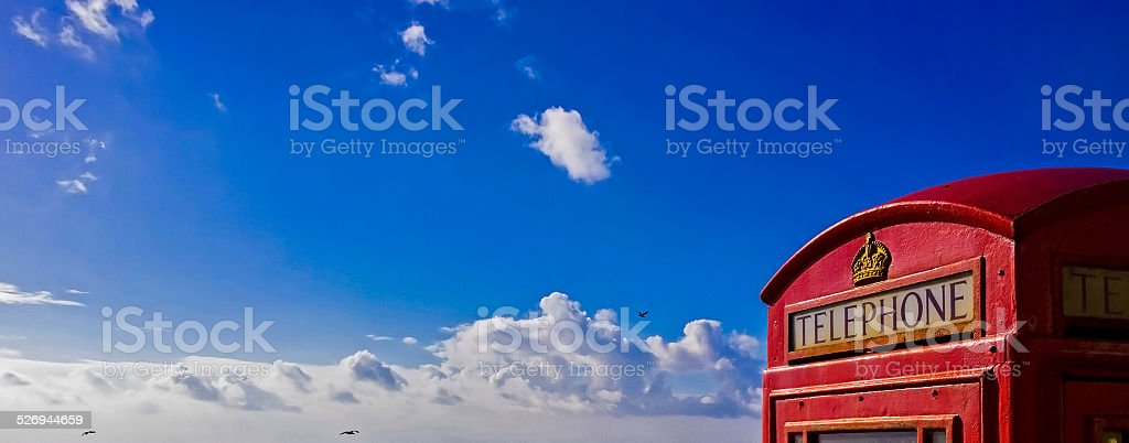 GPO phone box beach stock photo