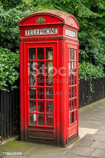 June 11, 2017 - London, United Kingdom: UK phone box in London streets