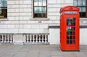 Traditional old style UK red phone box. Not too many of these left around these days apart from in key tourist areas.