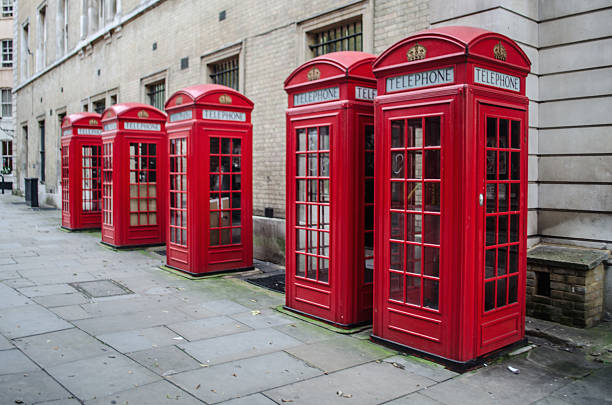Phone boxes, London stock photo