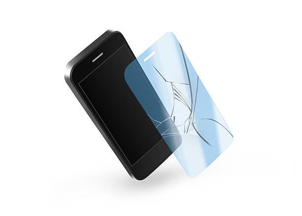 phone broken protection glass with screen. smartphone display - indumento sportivo protettivo foto e immagini stock