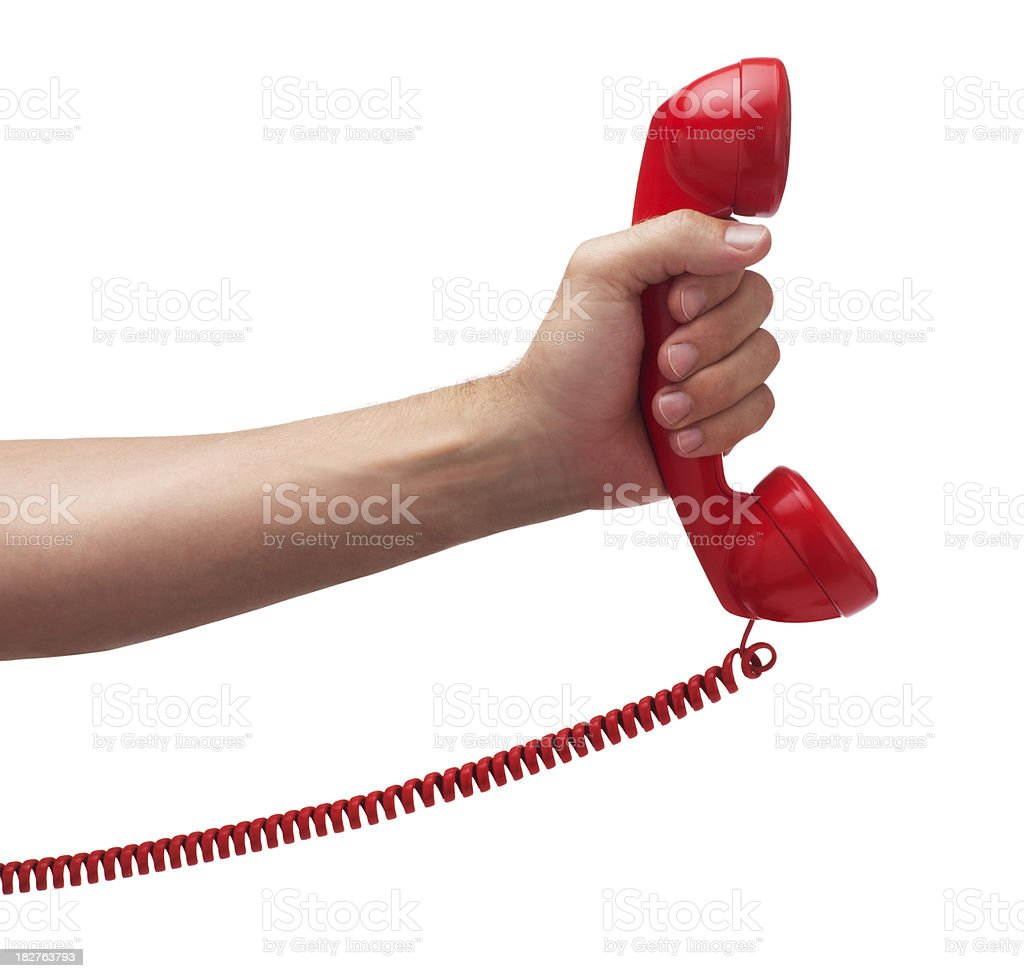 Phone Call on White stock photo