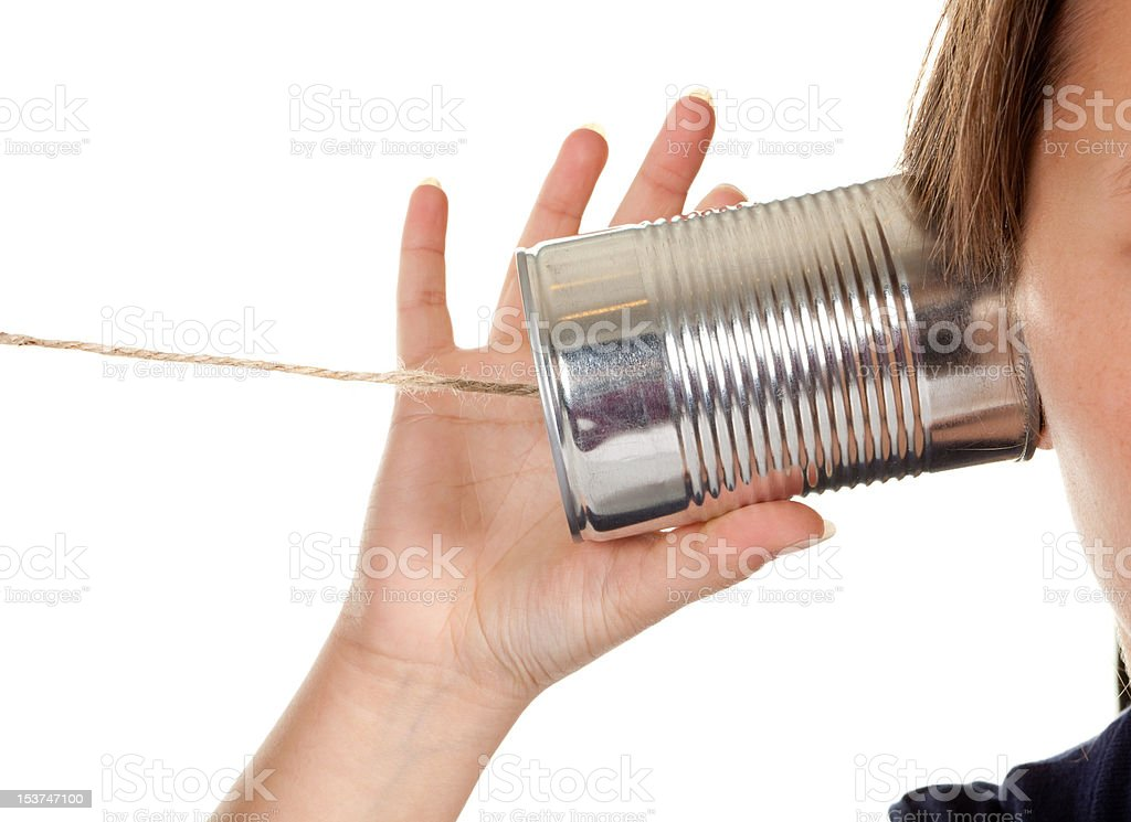 Phone call with a can royalty-free stock photo