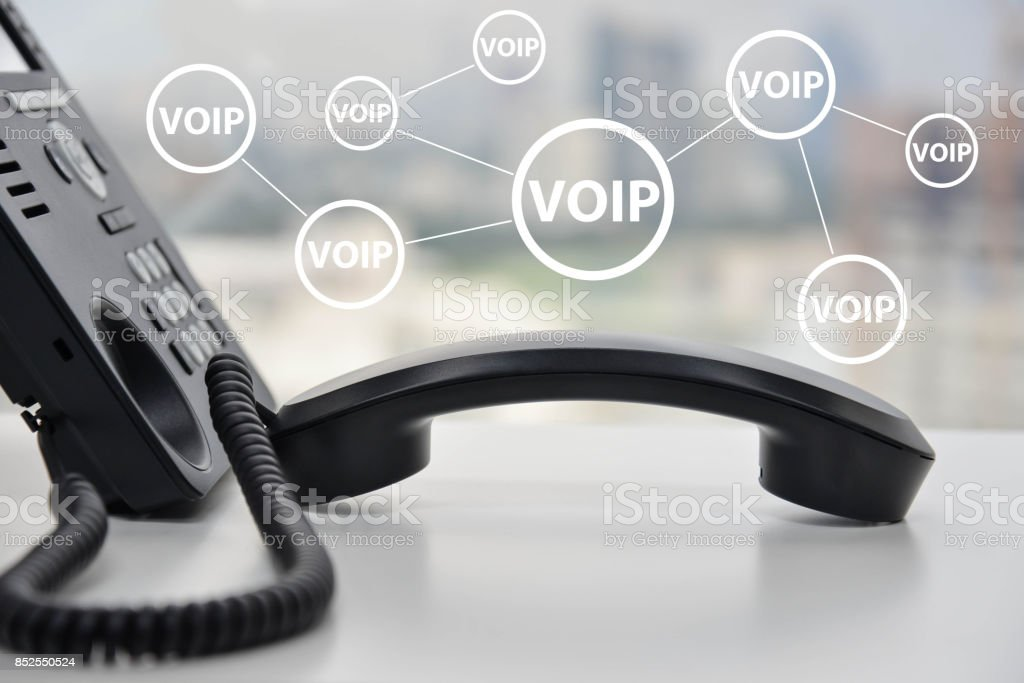 IP Phone connecting to other VOIP device stock photo