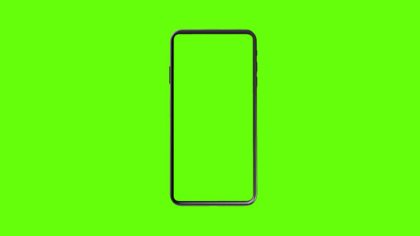 telefoon groen scherm op groene achtergrond - green screen stockfoto's en -beelden
