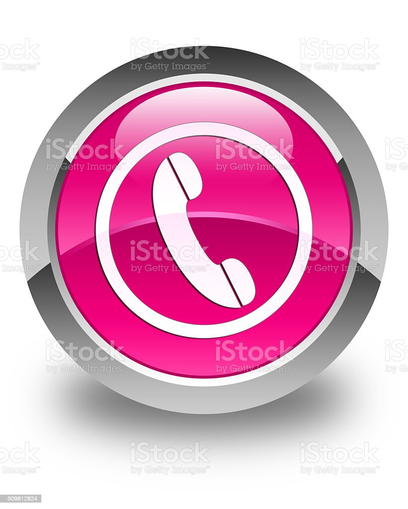 Phone icon glossy pink round button stock photo