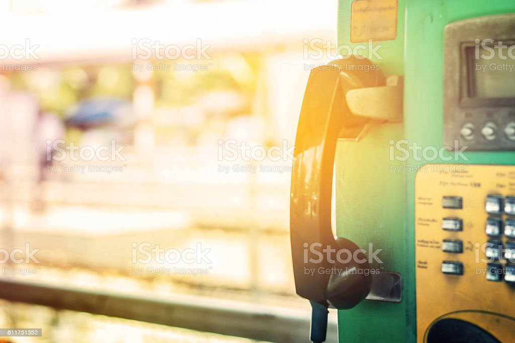 Phone  in railway station. stock photo