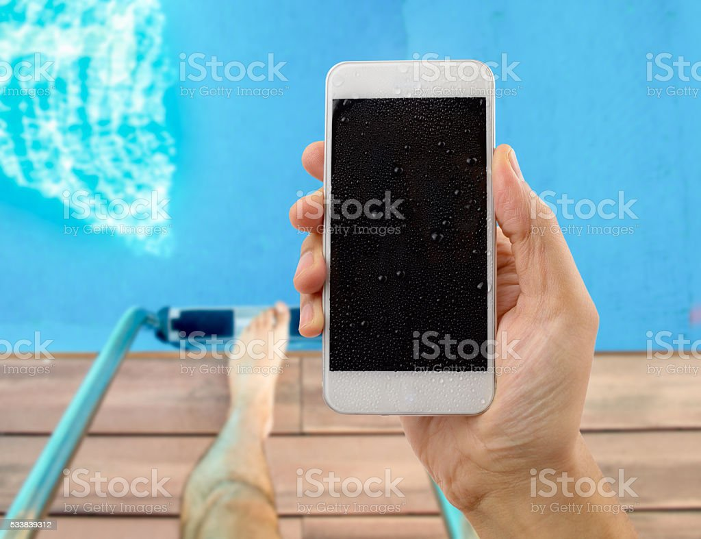 phone in summer stock photo