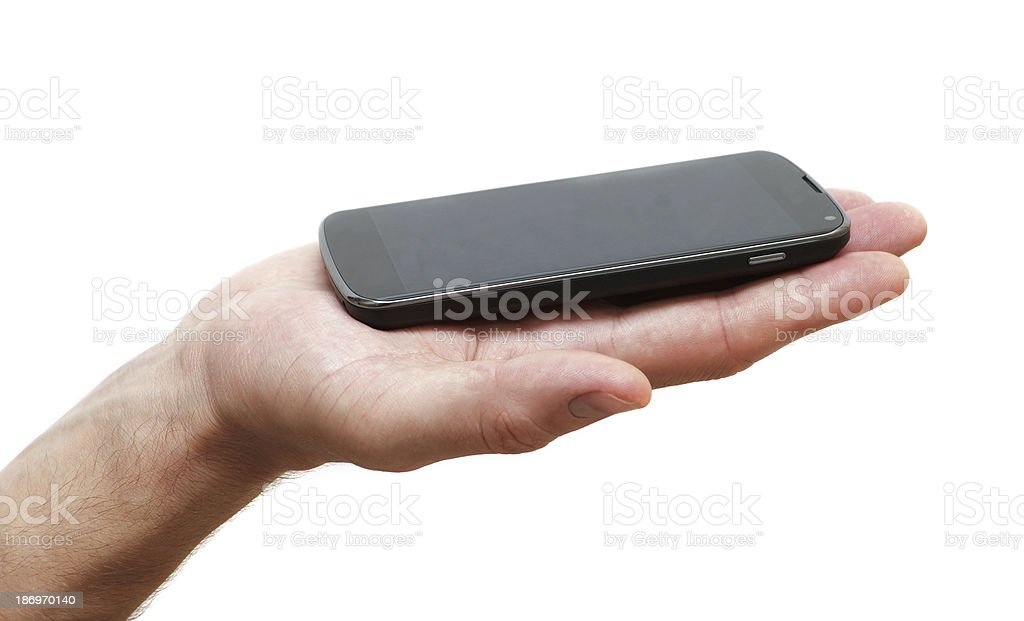 phone in the palm of stock photo