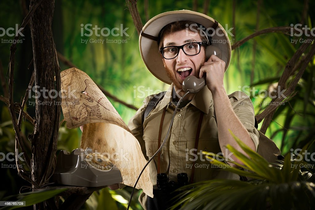 Phone information service in the wilderness stock photo