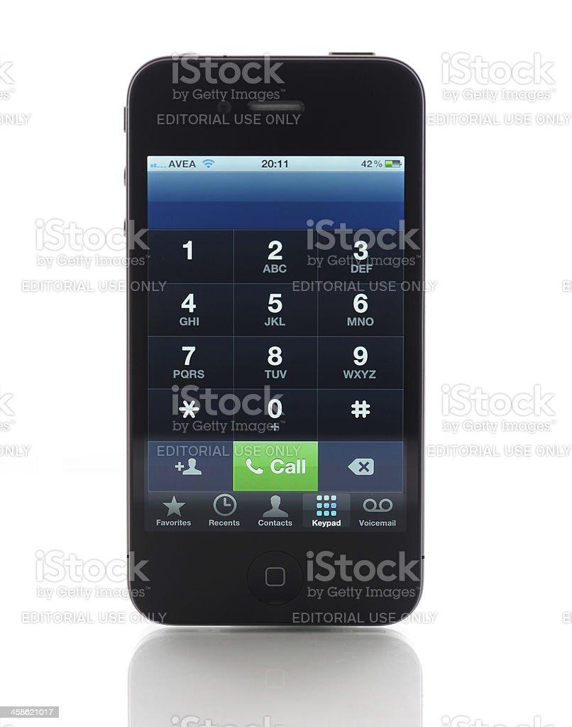 Phone keyboard on iPhone 4 royalty-free stock photo