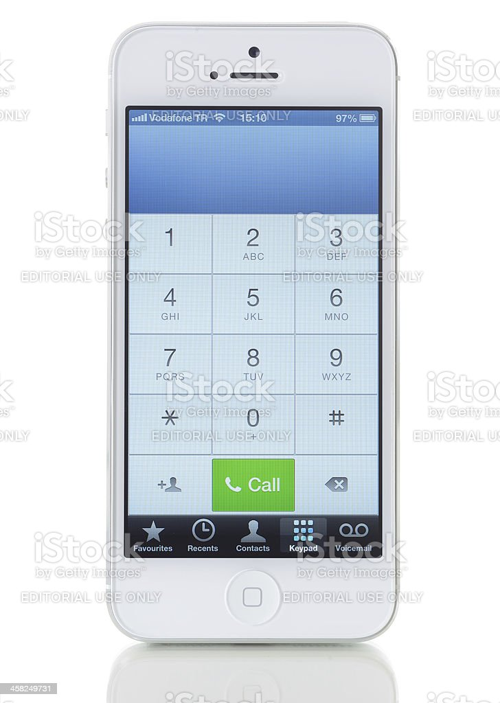 Phone keyboard on iPhone 5 royalty-free stock photo